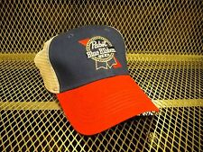 PBR PABST BLUE RIBBON Beer  NEW Sewn Logo ~ Snap Back Trucker Hat FREE KOOZIE R