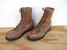 Vtg Mens Herman Sz 8.5E Blue Label Hunting Sport Work Boots Light Brown Leather