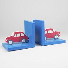 Retro Per Bambini Ragazzi Auto Rossa in legno Legno Reggilibri Vintage Blu libro regalo