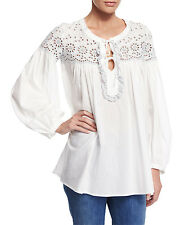 LOWER$$ NWT SEE by CHLOE SZ 38FR/6US White Eyelet Cotton LS Tie-Front Tunic Top