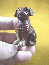 (Y-DOG-SH-716) red SHAR PEI sharpei dog pug JASPER FIGURINE carving love dogs