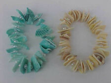 Faux Pearl Bracelets Aqua and Yellow Shell Bracelet SET 2 Shell Stretch Bangles