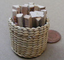 1:12 Basket Of Loose Logs For Fire Wood Dolls House Miniature Garden Accessory
