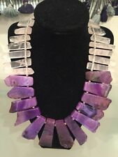 NWOT Natural Purple And Pink Stone Fringe Statement Necklace Anthropologie
