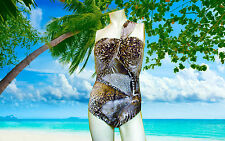 NWT PROFILE BY GOTTEX  Safari ONE SHOULDER BROWN BATHING SUIT SWIMSUIT SZ - 6