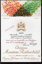 PAUILLAC 1EGCC ETIQUETTE CHATEAU MOUTON ROTHSCHILD 1979 75 CL DECOREE §22/04/17§