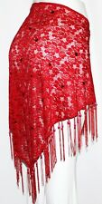 RED Boho Gypsy Tribal Belly Dance Dancing Sarong Flamenco Lace Scarf Fringe Belt