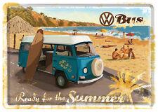 VW Bus Surf Coast Blechschild 10x14 cm Blechkarte 10172 Sign