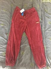 New Men's Adidas Originals Velour Cuffed Sweatpants In Maroon Size Large NWT