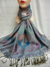 2PLY THICK METALLIC SHINNY PASHMINA NB2 BLUE COLOR WRAP SCARF SHAWL