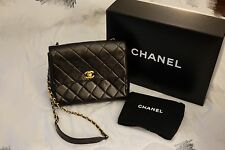100% Auth Vintage Chanel Flap Bag Cross Body With Golden Chain Classic Handbag