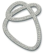 signed Swarovski~Swirl classic PIN Brooch~Clear pave crystal~rhodium~ new~ $105