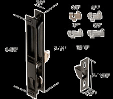"Black Keyed Flush Mount Sliding Glass Door Latch With 6-5/8"" Screw"