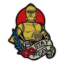 "C3-PO Fan ""Stay Gold"" Iron-On Craft Patch Star Wars Droid Character DIY Applique"