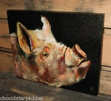 PIG Hog Face Head CANVAS Wall PICTURE*Farmhouse Primitive/French Country Decor