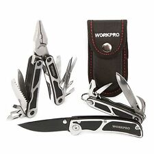 WORKPRO 4PC Outdoor Multi Tool Pliers Knife Foldaway Portable Pocket Camping Kit