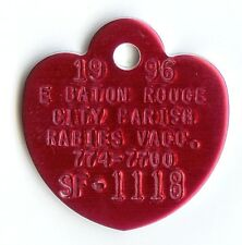 Rare Genuine Vintage Unused Pretty Red Heart Shaped Dog Pet Vaccination Tag