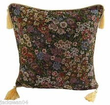 """WINDERMERE THICK FLORAL GOLD GREEN TAPESTRY WOVEN TASSEL CUSHION COVER 17""""-  P3"""