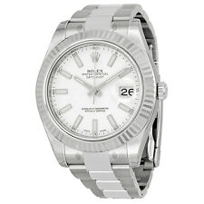Rolex Datejust II White Gold Bezel Stainless Steel Mens Watch 116334WSO