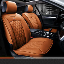 NEW Luxury Brown Full PU Leather Winter Car Seat Cover Set Seat Cushion Pad Warm