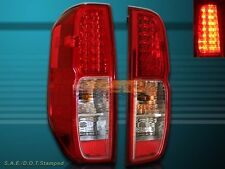 FIT 2005-2013 FRONTIER XE SE LE RED CLEAR LED TAIL LIGHTS LEFT+RIGHT PAIR NEW
