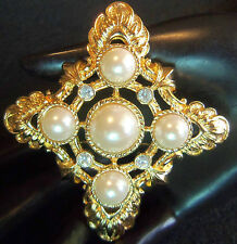 Kenneth J Lane Kjl Large Goldplated Pearl Maltese Brooch Pendant Unworn Vtg