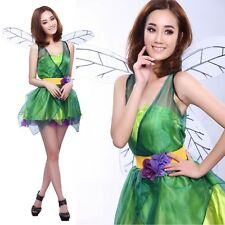 Woodland Green Fairy Tinkerbell Pixie Dress Outfit Adult Halloween Costume Party