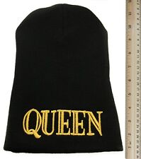 EXTRA LONG QUEEN BEANIE HAT (BLACK WITH GOLD LOGO)