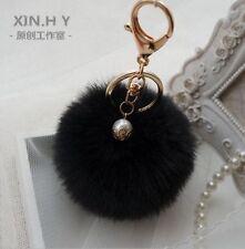 8cm Faux Rabbit Fur PomPom Ball Key Chain Key Ring Handbag Car Pendant Charm
