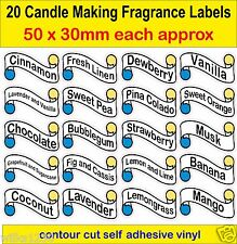 20 Candle Making Fragrance Labels 50 x 30mm self adhesive vinyl Stickers decal