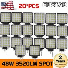 20X48W Spot LED Off Road Work Light Lamp 12V24V Car Boat Truck Jeep Square Flood