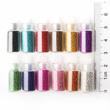 Lot 12 x Mini Fioles Caviar Nail Art Decoration Manucure Micro Billes Gel Uv pot