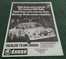 1977 1978 DEALER TEAM SKODA 130RS COUPE RALLY CAR LEAFLET BROCHURE - 110R S110R