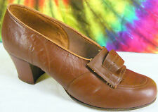 4.5-5 vintage 20s-30s brown leather Krippendorf Foot Rest heels pumps shoes Nos
