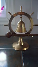 Vintage Brass Nautical Ship Wheel Chime Dinner Bell Gong 8 INCH