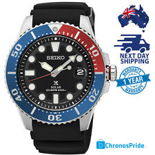 SEIKO Prospex Solar Divers Mens Watch SNE439 Pepsi Bezel Rubber Strap Black NEW