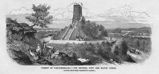 FRANCE Imperial Fort & watch Tower at Fontainebleau - Antique Print 1859