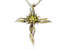 Cross Sun-Flower Olive Rhinestone Necklace Pendant