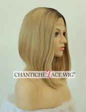 Ombre Short Bob Synthetic Hair Lace Front Wig Straight Full Wig Heat Friendly UK