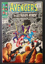 "THE AVENGERS # 36-1966-""THE ULTROIDS ATTACK!""-CAPTAIN AMERICA-HAWKEYE-GOLIATH"