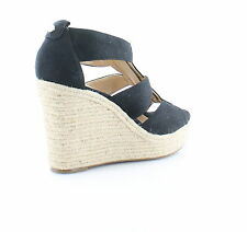 Michael Kors Womens Damita Wedge Open Toe Front Zip Espadrille Sandals Heels 8