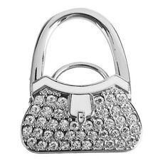 Metal RhInestone Folding Handbag Purse Table Hook Hanger Holder White AUCTION