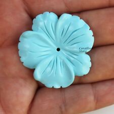Flower carved natural turquoise, 36.85 x 38 mm.