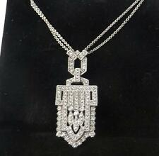 EFFY BITA 14K White Gold 1.25Ct Art Deco Style Diamond Double Chain Necklace