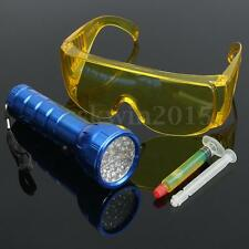 Automotive Leak Detector A/C Fluid Gas + 28 LED UV Light + Safety Glasses Kit