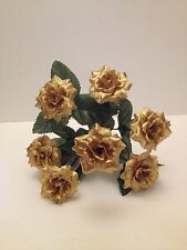 Gold Artificial Roses Bunch Fake Christmas Wedding Flowers Posy Faux Silk Bush