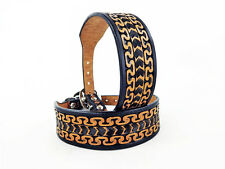 """10"""" BLACK & TAN WESTERN STYLE FULLY TOOLED LEATHER CANINE DOG K9 COLLAR SMALL"""