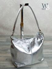MADE IN ITALY eyecatcher  Abend Schulter Tasche Silber metallic echt Leder 985