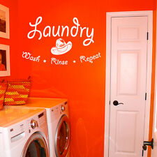 """Wash Rinse Repeat Laundry Room Vinyl Wall Quote Sticker Decal 36""""w x 22""""h"""