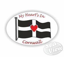 My Heart's in Cornwall Oval Sticker Cornish Stickers St Piran Flag Car Decal